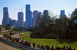 Houston Livestock Show and Rodeo Trail Ride near downtown Houston with the skyline in the background.