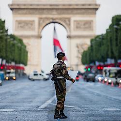 Célébration du 14 juillet, fête nationale française, mettant à l'honneur en 2016 le soutien militaire de l'Australie et de la Nouvelle-Zélande pendant la grande guerre au travers de leurs détachements interarmées; les établissement de formation, ainsi que les missions intérieures avec notamment la réserve opérationnelle du 24e RI. <br /> L'année 2016 est aussi celle de la première participation des Douanes françaises et de l'Administration pénitenciaire au défilé parisien. Préparatifs et défilé militaire sur les Champs Elysées devant le président de la République.<br /> Juillet 2016/ Paris (75) / FRANCE<br /> Voir le reportage complet ( photos) http://sandrachenugodefroy.photoshelter.com/gallery/2016-07-Ceremonie-du-14-juillet-Complet/G00008lpYvGpU3xI/C0000yuz5WpdBLSQ