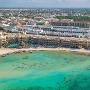 Aerial view of hotel Porto Real. Playa del Carmen. Quintana Roo. Mexico.