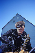 Image of a Marlon Brando mural painted on the side of a building in Roslyn, Washington, Pacific Northwest by Randy Wells