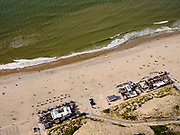 Nederland, Zuid-Holland, Den Haag, 14-09-2019; Kijkduin, Zuiderstrand met strandtent Habana Beach.<br /> Southern beach with Habana Beach beach club.<br /> luchtfoto (toeslag op standard tarieven);<br /> aerial photo (additional fee required);<br /> copyright foto/photo Siebe Swart