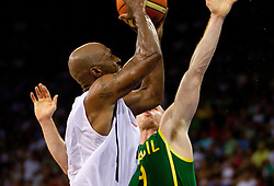 Chauncey Billups of USA vs Marcelo Huertas of Brasil during the Preliminary Round - Group B basketball match between National teams of USA and Brasil at 2010 FIBA World Championships on August 30, 2010 at Abdi Ipekci Arena in Istanbul, Turkey. (Photo By Vid Ponikvar / Sportida.com)