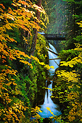 "Sol Duc Falls in Olympic National Park, in autumn.  The name Sol Duc means ""magic waters"". The Sol Duc River is divided into 3 or 4 separate streams (depending on flow) by an irregular rocky ledge. The water drops about 25 feet over the ledge into a tight cleft, making a 90 degree angle turn. The river passes beneath a footbridge, then drops about 10 feet into a deep teal pool."