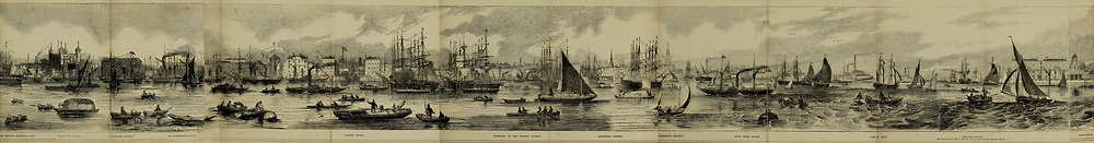 Part 4 of 5 of The Grand panorama of London from the Thames Published in London by Charles Evans. This remarkable engraving, twelve feet in length, may be taken as a specimen of the gifts presented without charge to the subscribers to the Pictorial times, family illustrated newspaper; as a print it is unequalled in the history of wood engraving, and is alike valuable as a work of art and as an historical record of the appearance of the great metropolis, seen from the Thames in 1844.