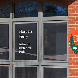 Harpers Ferry, WV / USA - November 3, 2018: A National Park Service sign on a visitors building.
