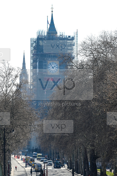 A general view of the city of London from the Golden Jubilee Bridge looking Big Ben Clock Tower, Wednesday, March 25, 2020. British lawmakers voted to shut down Parliament for 4 weeks, due to the coronavirus outbreak. The new coronavirus causes mild or moderate symptoms for most people, but for some, especially older adults and people with existing health problems, it can cause more severe illness or death. (Photo/Vudi Xhymshiti)