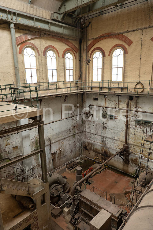 Exposed works at Crossness Pumping Station on the 22nd September 2019 in London in the United Kingdom. Built by Sir Joseph Bazalgette for Londons sewage system and opened in 1865, Crossness Pumping Station is a Grade 1 Listed building.