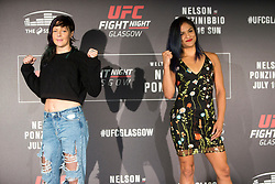 Joanne Calderwood, No.8 strawweight contender and Cynthia Calvillo, No.14 strawweight contender, UFC Fight Night : Ultimate Media Day at the  Crowne Plaza Glasgow. This is for the forthcoming UFC Fight Night Glasgow at the SSE Hydro on 16th July 2017.