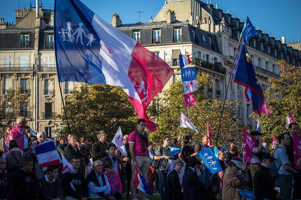 Anti-gay demonstrators take part in the protest march 'La Manif Pour Tous' (Protest For Everyone), to protest against France's same-sex marriage law, surrogate parenting, and gay adoption.  Paris, France.  October 16, 2016.