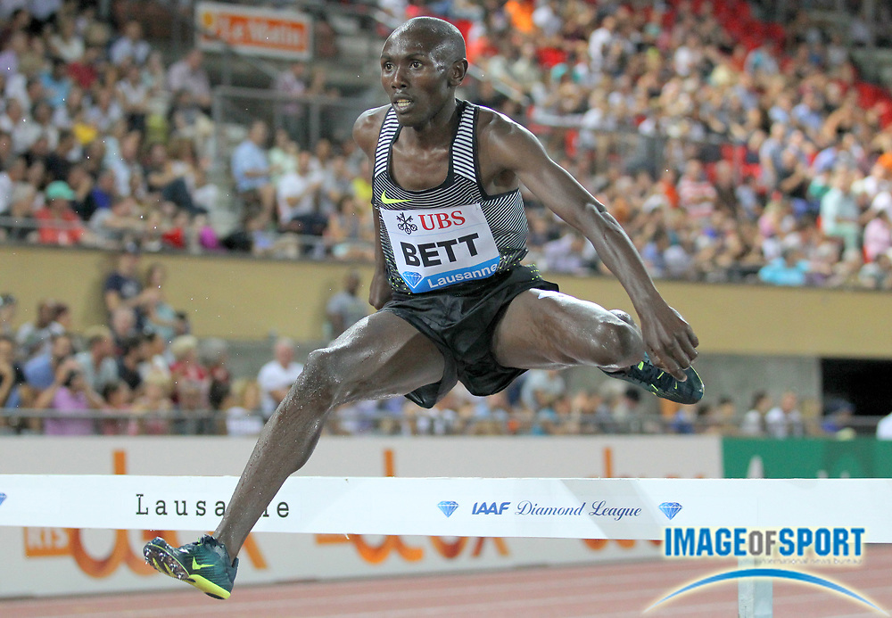 Aug 25, 2016; Lausanne, Switzerland; Nicholas Kiptonui Bett (KEN) places second in the steeplechase in 8:10.07 during the 2016 Athletissima in an IAAF Diamond League meeting at Stade Olympique de la Pontaise. Photo by Jiro Mochizuki