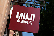 Sign for the household brand Muji in Birmingham, United Kingdom.