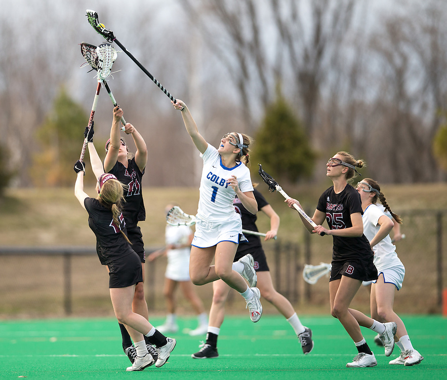 Sasha Fritts, of Colby College, in a NCAA Division III lacrosse game against Bates College on April 22, 2015 in Waterville, ME. (Dustin Satloff/Colby College Athletics)