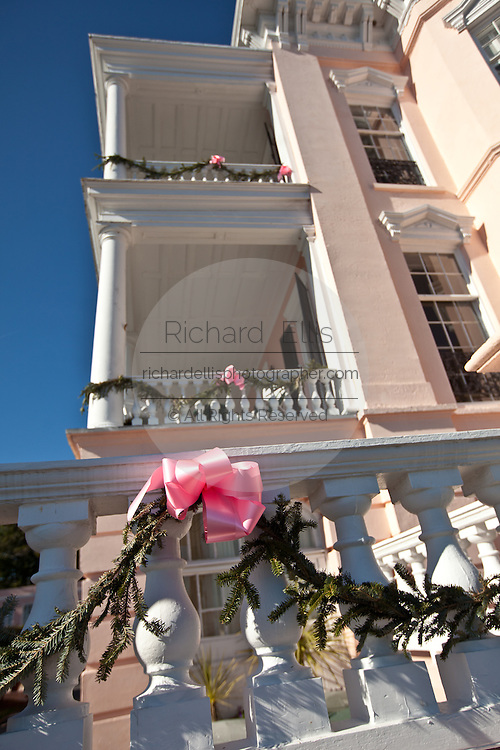 Historic Palmer House Bed & Breakfast decorated for Christmas in Charleston, SC.
