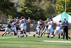 08 September 2012:  Quarterback Jarrett Leister releases a pass during an NCAA division 3 football game between the Alma Scots and the Illinois Wesleyan Titans which the Titans won 53 - 7 in Tucci Stadium on Wilder Field, Bloomington IL