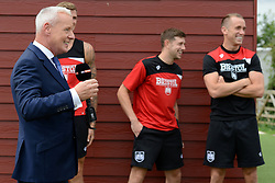 Jim White arrives by helicopter at Bristol City's Training Ground to interview Steve Cotterill as part of the Sky Sports 92 Live feature before the start of the season  - Mandatory byline: Dougie Allward/JMP - 07966386802 - 04/08/2015 - FOOTBALL - Bristol City Training Ground -Bristol,England - Sky Sports Interview
