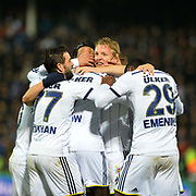 Fenerbahce's Dirk Kuyt (C) celebrate his goal with team mate during their Turkish superleague soccer match Gaziantepspor between Fenerbahce at the Kamil Ocak stadium in Gaziantep Turkey on Saturday 14 February 2015. Photo by TURKPIX