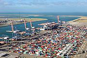 Nederland, Zuid-Holland, Rotterdam, 23-10-2013; Maasvlakte met Euromax Terminal Rotterdam aan de Yangtzehaven.<br /> De terminal van European Container Terminals (ECT) is een automatische terminal  Automatisch Gestuurde Voertuigen (AGV's) . In de achtergrond de Tweede Maasvlakte (MV2).<br /> Maasvlakte with Euromax Terminal Rotterdam and Yangtzehaven. The terminal of European Container Terminals (ECT) is an automatic terminal with Automated Guided Vehicles (AGVs). In the background the Maasvlakte (MV2).<br /> luchtfoto (toeslag op standard tarieven);<br /> aerial photo (additional fee required);<br /> copyright foto/photo Siebe Swart