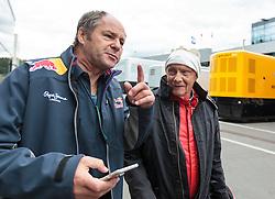 21.06.2015, Red Bull Ring, Spielberg, AUT, FIA, Formel 1, Grosser Preis von Österreich, Rennen, im Bild v.l.: Gerhard Berger (AUT) und Niki Lauda, (AUT, Mercedes AMG Petronas F1 Team) // during the Race of the Austrian Formula One Grand Prix at the Red Bull Ring in Spielberg, Austria, 2015/06/21, EXPA Pictures © 2015, PhotoCredit: EXPA/ JFK