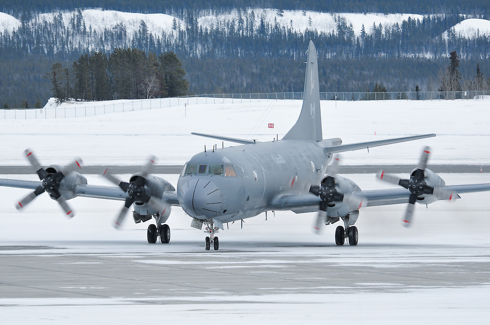 CP-140 Aurora taxis on the Whitehorse International Airport ramp