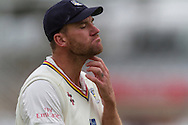 Ryan Pringle (Durham County Cricket Club) in thoughtful mood during the LV County Championship Div 1 match between Durham County Cricket Club and Warwickshire County Cricket Club at the Emirates Durham ICG Ground, Chester-le-Street, United Kingdom on 14 July 2015. Photo by George Ledger.