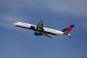 A Delta Airlines 757-232 sports charter departs Los Angeles International Airport (LAX) carrying the Denver Nuggets back to Colorado after a game against the Clippers on Saturday, February 29, 2020 in Los Angeles. (Brandon Sloter/Image of Sport)
