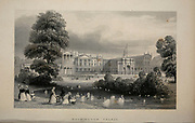 Swans in the pons at Buckingham Palace, London From the book Illustrated London, or a series of views in the British metropolis and its vicinity, engraved by Albert Henry Payne, from original drawings. The historical, topographical and miscellanious notices by Bicknell, W. I; Payne, A. H. (Albert Henry), 1812-1902 Published in London in 1846 by E.T. Brain & Co