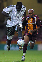 Photo: Paul Thomas.<br /> Bradford v Bristol City. Coca Cola League 1. 08/08/2006.<br /> <br /> Enoch Showunmi of Bristol gets away from Richard Edghill (R).