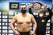 BOXEN: ECB Boxgala, Waage, Hamburg, 12.03.2021<br /> WBO-Europameisterschaft, Schwergewicht: Ali Eren Demirezen (TUR / GER)<br /> © Torsten Helmke