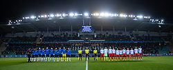 TALLINN, ESTONIA - Monday, October 11, 2021: Estonia and Wales players line-up during the FIFA World Cup Qatar 2022 Qualifying Group E match between Estonia and Wales at the A. Le Coq Arena. Wales won 1-0. (Pic by David Rawcliffe/Propaganda)