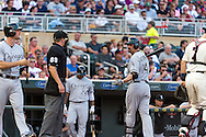 Paul Konerko #14 of the Chicago White Sox argues a call with home plate umpre Cory Blaser during a game against the Minnesota Twins on June 19, 2013 at Target Field in Minneapolis, Minnesota.  The Twins defeated the White Sox 7 to 4.  Photo: Ben Krause