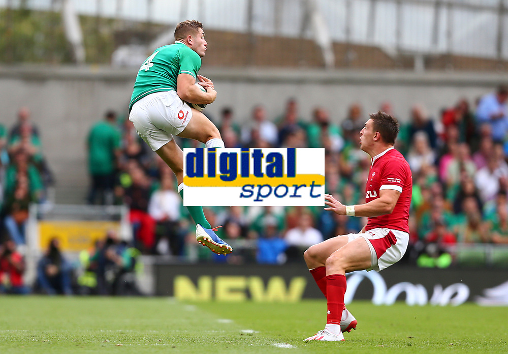 Rugby Union - 2019 pre-Rugby World Cup warm-up (Guinness Summer Series) - Ireland vs. Wales<br /> <br /> Jordan Larmour (Ireland) and Josh Adams (Wales) at The Aviva Stadium.<br /> <br /> COLORSPORT/KEN SUTTON