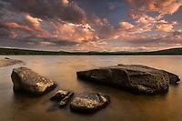 Clearing thunderstorm at sunset, great averill pond, Averill, VT