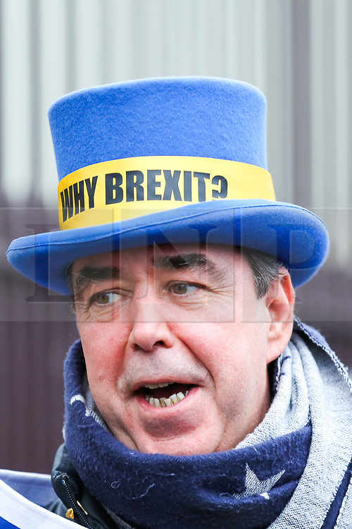 © Licensed to London News Pictures. 30/01/2020. London, UK. Steve Bray founder of SODEM (Stand of Defiance European Movement) outside Houses of Parliament on the day before Brexit Day.  The UK will leave the European Union at 11pm on the 31 January 2020. Thereafter will be a transition period until the end of 2020, while the UK and EU negotiate additional arrangements. Photo credit: Dinendra Haria/LNP