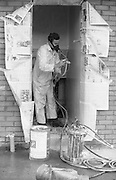 """18/05/1966<br /> 05/18/1966<br /> 18 May 1966 <br /> I.C.I. House at Kilcroney, Co. Wicklow for F.M. Cunneen of Imperial Chemical Industries (Ireland) Ltd., South Frederick Street, Dublin. Workman spray coating the walls with """"Plastapak""""."""