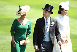 The Duke of Cambridge with The Duchess of Cambridge (right) during day one of Royal Ascot at Ascot Racecourse.