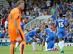 Marcus Maddison (third from left) of Peterborough United celebrates scoring his second goal - Mandatory byline: Joe Dent/JMP - 07966386802 - 15/08/2015 - FOOTBALL - ABAX Stadium -Peterborough,England - Peterborough United v Colchester United - Sky Bet League One