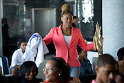 """Gift bags and t-shirts are distributed to guests after a screening of BET's """"Being Mary Jane"""" at the W Hotel in Dallas, Texas on June 22, 2013."""