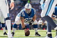 September 28, 2014: Indianapolis Colts center A.Q. Shipley (63) during a football game between the Indianapolis Colts and Tennessee Titans at Lucas Oil Stadium in Indianapolis, IN. NFL American Football Herren USA SEP 28 Titans at Colts PUBLICATIONxINxGERxSUIxAUTxHUNxRUSxSWExNORxONLY Icon1409280178<br />