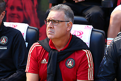 September 30, 2018 - Harrison, NJ, U.S. - HARRISON, NJ - SEPTEMBER 30:  Atlanta United head coach Gerardo ''Tata'' Martino prior to the first half of the Major League Soccer game between the New York Red Bulls and Atlanta United on September 30, 2018 at Red Bull Arena in Harrison, NJ.  (Photo by Rich Graessle/Icon Sportswire) (Credit Image: © Rich Graessle/Icon SMI via ZUMA Press)