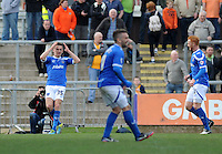 Portsmouth's Jed Wallace celebrates scoring his sides second goal <br /> <br /> Photo by Ashley Crowden/CameraSport<br /> <br /> Football - The Football League Sky Bet League Two - Newport County AFC v Portsmouth - Saturday 29th March 2014 - Rodney Parade - Newport<br /> <br /> © CameraSport - 43 Linden Ave. Countesthorpe. Leicester. England. LE8 5PG - Tel: +44 (0) 116 277 4147 - admin@camerasport.com - www.camerasport.com