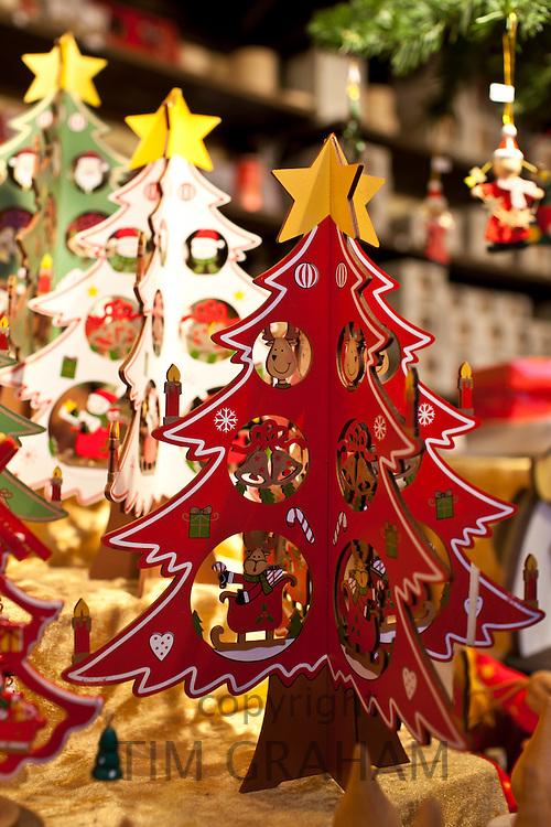 Christmas tree ornaments at Christmas market, Winter Wonderland, in Hyde Park, London