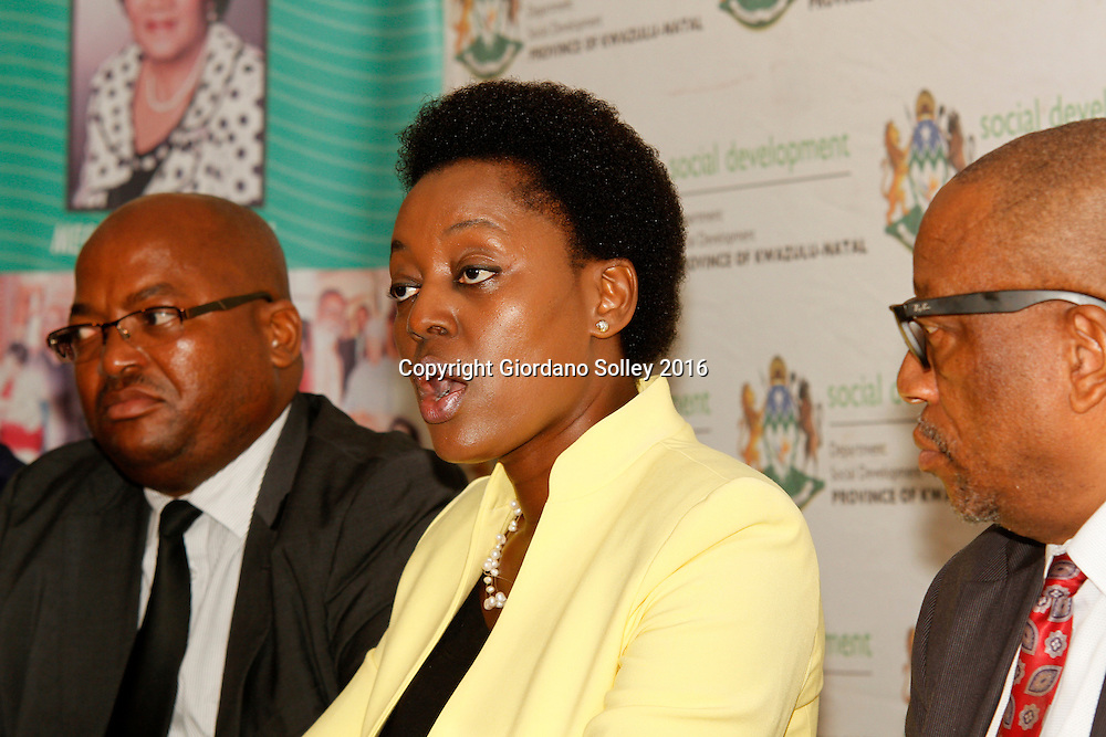 DURBAN - 15 March 2016 - Nokuthula Khanyile (center), the head of the KwaZulu-Natal Social Development department briefs the media on R19 million fraud at one of the department's offices near Empangeni. Looking on are Mxolisi Ngcongo (left), the general manager in charge of the department's human resources and Wilton Magwaza (right), the acting deputy director general of the department. Picture: Allied Picture Press/APP