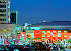 Stock photo of opening night at the Toyota Center, new home of the Houston Rockets and Comets
