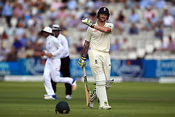 England's Ben Stokes walks off after being dismissed during day one of the First Investec Test match at Lord's, London.
