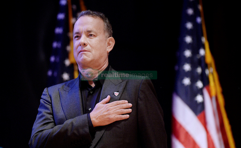 """Actor and Campaign Chair Tom Hanks looks on during the launch of """"Hidden Heroes"""" campaign at the Capitol September 27, 2016 in Washington, DC. The Hidden Heroes campaign has been created to generate stronger support for America's 5.5 million military and veteran caregivers. Photo by Olivier Douliery/Abaca"""