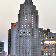 Power and Light Building, a historic art deco style skyscraper in downtown Kansas City, Missouri. Undergoing renovation into residential apartments by NorthPoint Development at time of photo.