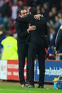 Manager of Everton, Roberto Martinez hugs Manager of Sunderland, Gus Poyet at full time - Sunderland vs. Everton - Barclay's Premier League - Stadium of Light - Sunderland - 09/11/2014 Pic Philip Oldham/Sportimage