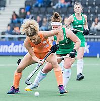 AMSTELVEEN -  Maria Verschoor (Ned) met Shirley McCay (Ier)  tijdens de dames hockeywedstrijd , Nederland-Ierland (4-0)  bij het EK hockey. Euro Hockey 2021.   COPYRIGHT KOEN SUYK