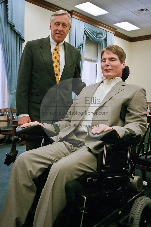 Actor Christopher Reeve with Rep. Steny Hoyer before testifying before a Congressional hearing April 14, 1999 in Washington, DC. Reeve's was paralyzed in a horse riding accident and has become an outspoken advocate for the disabled.
