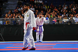 November 10, 2018 - Madrid, Madrid, Spain - Aghayev Rafael (AZE) win the third place of male Kumite -75 Kg during the Finals of Karate World Championship celebrates in Wizink Center, Madrid, Spain, on November 10th, 2018. (Credit Image: © AFP7 via ZUMA Wire)